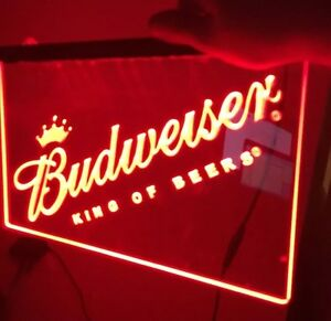 New budweiser led neon sign for game room office bar man for Room decor neon signs