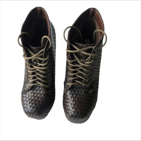 Vintage Brown Woven Lace up Heel Platform Boot 7.5 - image 2