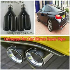 Y-Style-Pair-Glossy-Real-Carbon-Fiber-Exhaust-Dual-TWIN-Pipe-End-Tips-for-BMW-amp
