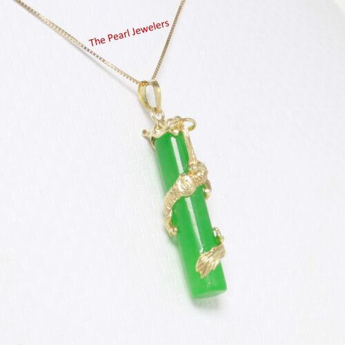 "14k Solid Yellow Gold Dragon Totem Column Green Jade Pendant 1.5"" Necklace TPJ"