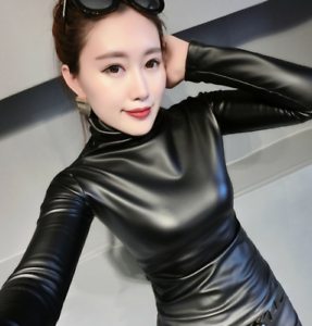 Womens-Vogue-Slim-Warm-PU-Leather-Tops-Casual-Turtleneck-Blouse-Plus-Shirt-New