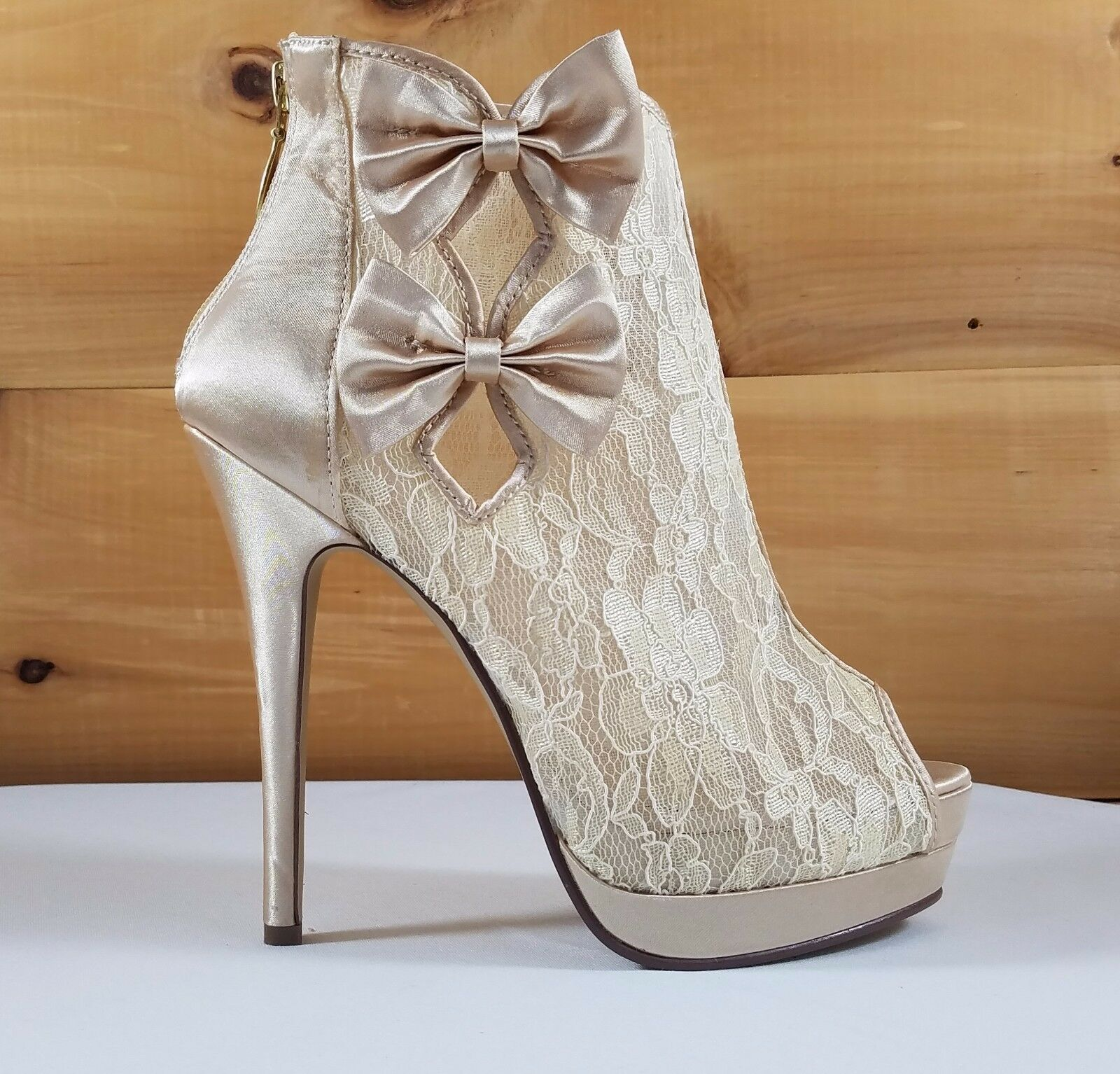 Lace & Bows Platform Open Toe High Heel Ankle Boot shoes Ivory Champagne