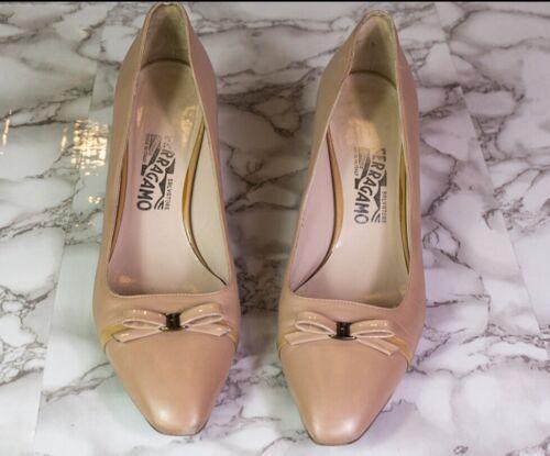Salvatore Ferragamo Nude Bow Kitten Heels