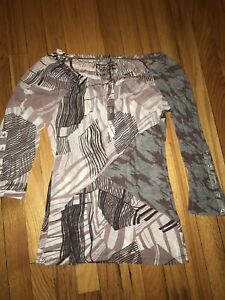 Erge-Mauve-Gray-3-4-Sleeve-Patchwork-Modern-Lines-Blouse-Shirt-Top-Size-M-NWOT