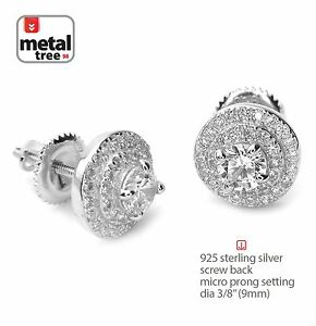 Men-039-s-Iced-Out-925-Silver-3-Layer-Round-Micro-Pave-Screw-Back-Stud-Earrings-469S