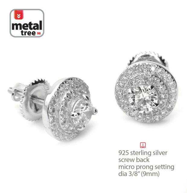 9df3018ef Men's Iced Out 925 Silver 3 Layer Round Micro Pave Screw Back Stud Earrings  469S