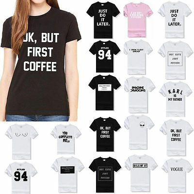 Fashion Women's Casual Letter Print Short-Sleeve Summer T-shirt Tops Blouse US