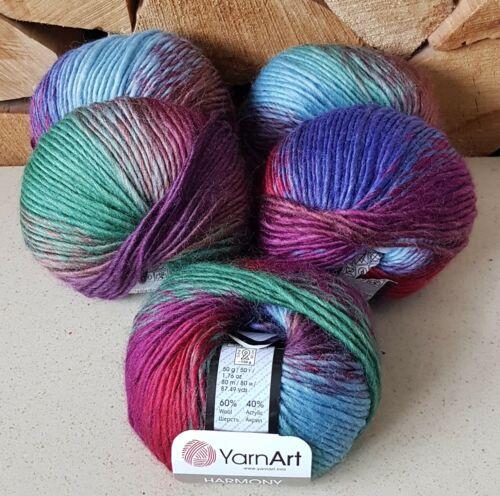 YarnArt Harmony Chunky Multi Coloured knitting Yarn 40/% Wool 5 x 50g A1