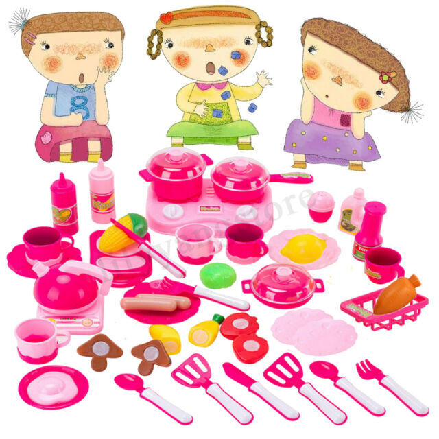 Pretend Kitchen Play Set for Kids 43 Pcs Pink Cooking Bake Food Toys Girls  Boy
