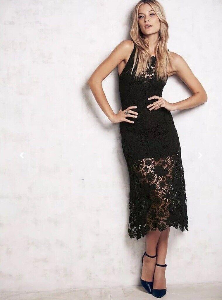 Nuevo Con Etiquetas  429 Nightcap Clothing  Cocheibe Crochet Vestido Midi Talla 1 XS  tienda en linea