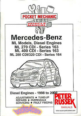 Mercedes Benz ML 270 280 320 400 CDI Diesel Pocket Mechanic Manual 1998-2006 NEW