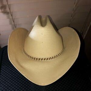 Vintage-Sheplers-Straw-Western-Cowboy-Hat-by-STETSON-Size-7-1-8-Western-Apparel