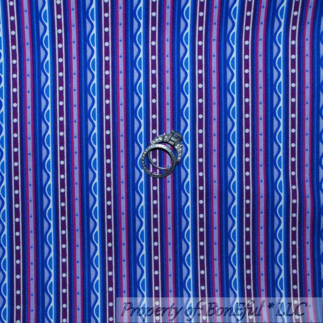 BonEful Fabric FQ Cotton Quilt Purple Pink Blue Sm STRIPE DOT White Baby Girl NR