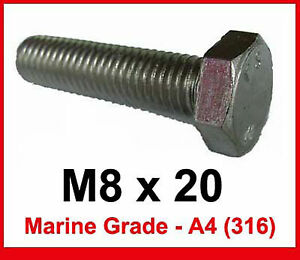 M8 x 8 Stainless Steel Hex Head Bolts x10 8mm x 8mm Bolts