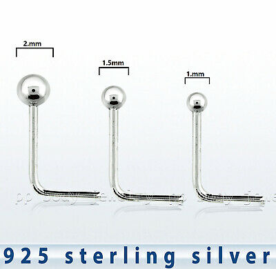 2mm Ball 22ga L Shaped 925 Sterling Silver Ball Nose Stud 1 5mm 1pc 1 0mm