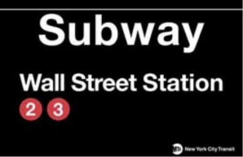 New York Subway U Bahn Station Strassenschild WALL STREET,Street Sign,43cm