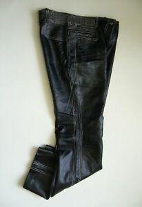 BGN-Womens-Sz-9-Black-Low-Waist-100-Real-Genuine-Leather-Motorcycle-Pants-L