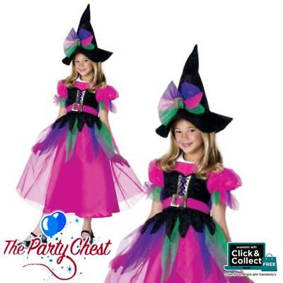 Girls Pink Rainbow Witch Costume Cute Halloween Witch Fancy Dress Outfit 18838 Ebay