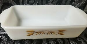 Vintage FIRE-KING Rectangle 1/2 qt. Baking Dish, Milk Glass with Wheat Design