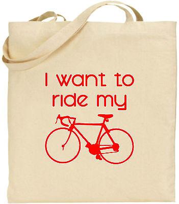 I Want To Ride My Push Bike Groß Baumwolltasche Einkaufstasche Lustig