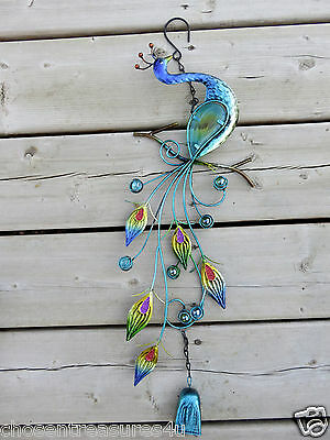 PEACOCK BELL WIND CHIME IRON FUSION GLASS FEATHERS garden fence BLUE BELL 18 IN