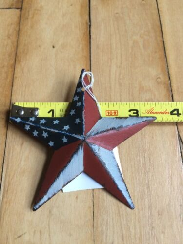 "Set of 6 PATRIOTIC AMERICANA BARN STARS 3.5/"" PRIMITIVE RUSTIC AMERICAN DECOR"