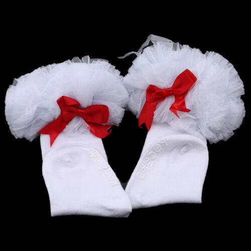 Bébé bambin Filles Chaussettes volants Manchette princesse robe de coton dentelle nœud G