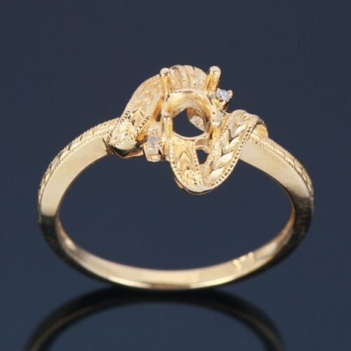 Solid 14K Yellow Gold 4X5mm Oval Engagement Wedding SI//H Diamond Semi Mount Ring