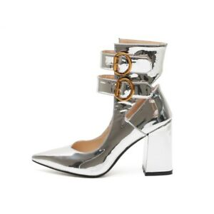 df166f3e7ea Trendy Womens Silver Pointy Toe Ankle Strap Block High Heels Chic ...