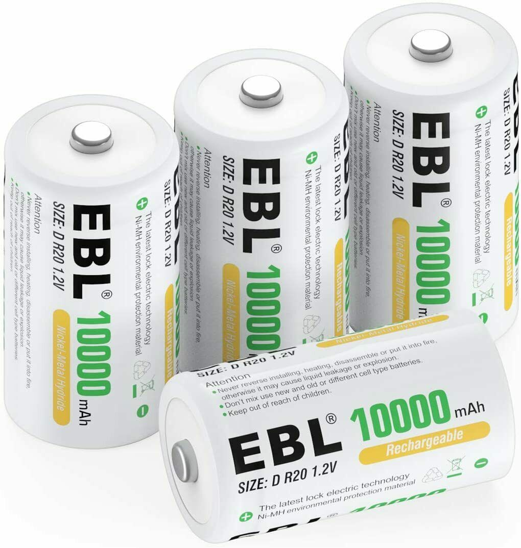 EBL 4 Pack 10000mAh D Size Rechargeable Batteries High Capacity Ni-MH D Battery