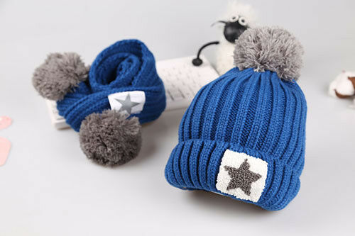 Toddler Kids Baby Boy Girl Winter Warm Crochet Hat Stars Knit Beanie Cap Scarves
