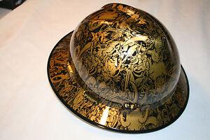 New Custom MSA V-Gard (Full Brim) Hard Hat W/Fas-Trac Ratchet Underworld Gold