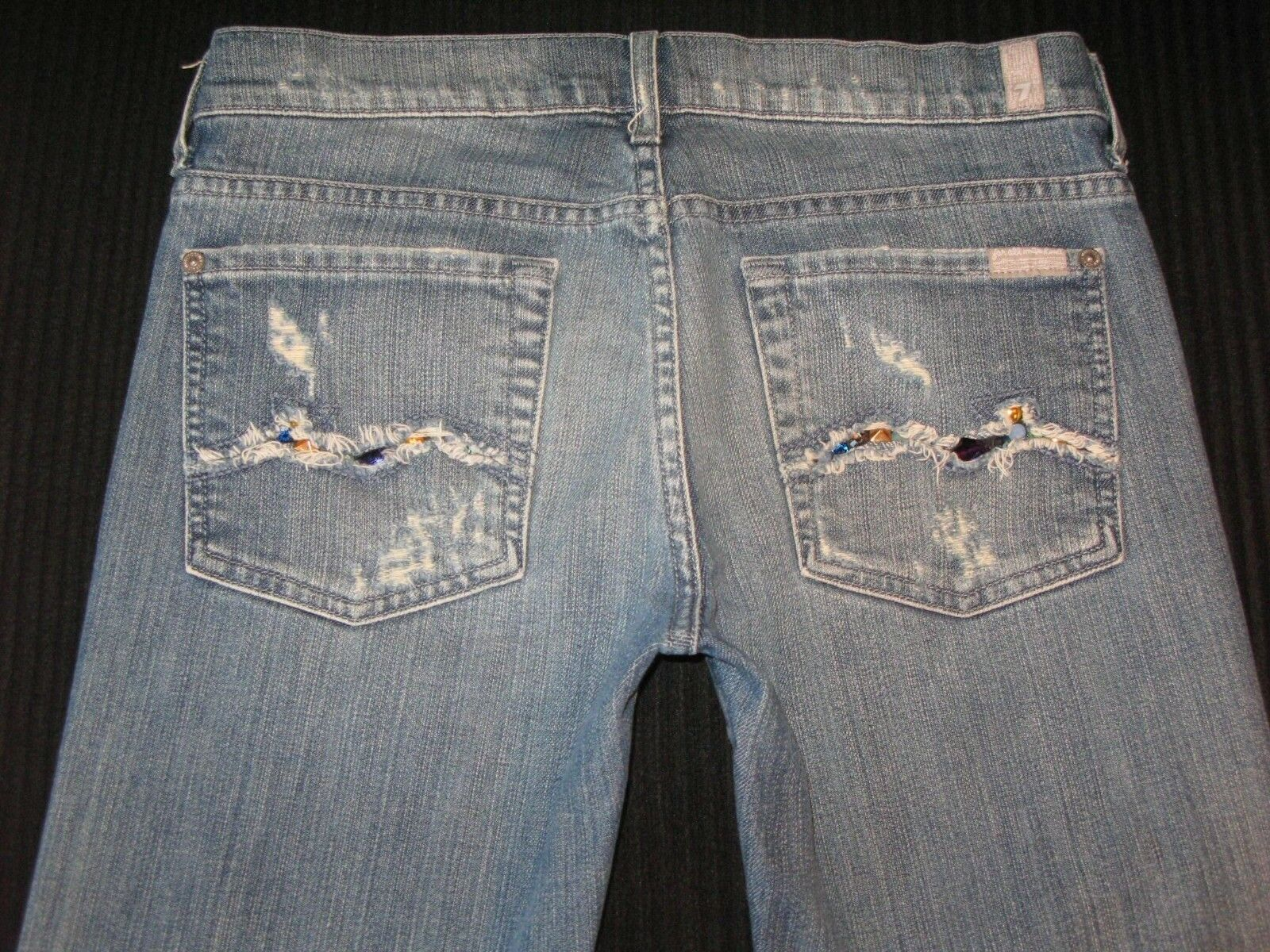 7 for all Mankind Wmns Bootcut Jean Sz 27 Stretch Shore Pine Distressed Crystals