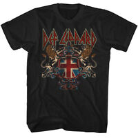 Def Leppard Mens T-shirt In Sizes Sm - 5xl Def Crest In 100% Black Cotton