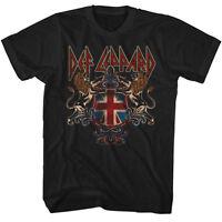 Def Leppard Mens T-shirt In Sizes Sm - 5xl Def Crest In 100% Black Cotton