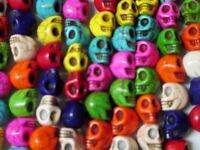 Skull Beads Wholesale 160 Beads - Rainbow Colors Imitation Stone 1/2 Halloween