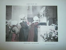 Gravure 19° 1899 couleur Peinture Emile Adan Le reliquaire Soeur dévotes