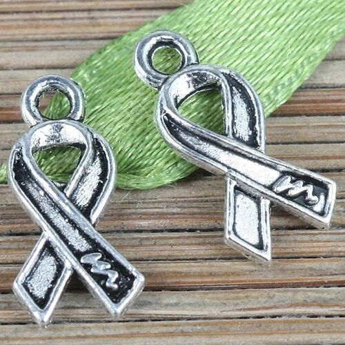 65pcs tibetan silver cancer awareness ribbon design charms EF0261