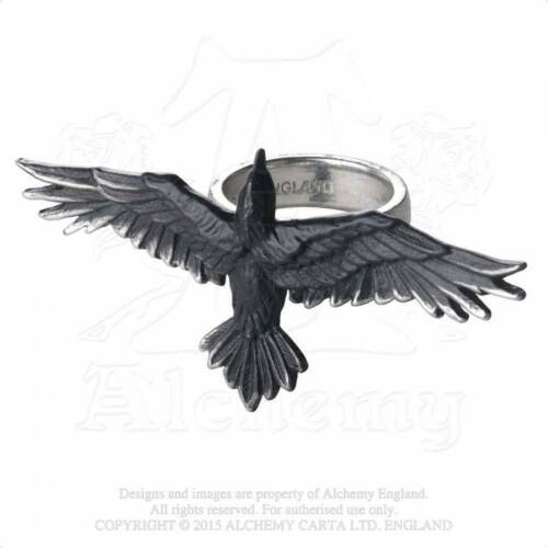 Gothic Ring Rabe Raven Raben Corvus Corax Wicca Batcave WGT ALCHEMY R205