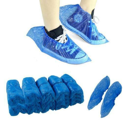 200pcs Home Boot Covers Plastic Disposable Shoe Thick Overshoes Waterproof UK