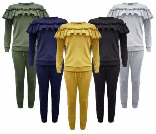 Ladies Kid 2Piece Long Sleeve Frill Detail Top Jogger Women Lounge Wear Suit Set