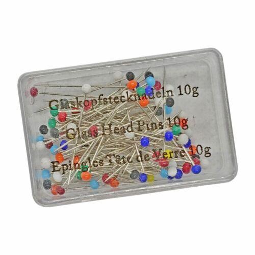 farbig sortiert Stecknadeln mit Glaskopf ca 100 Stück//Dose Länge 32mm