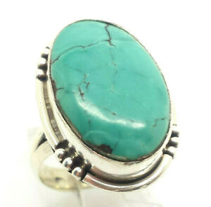 Navajo-Oval-Turquoise-Sterling-Silver-925-Ring-9g-Sz-6-75-DWK642