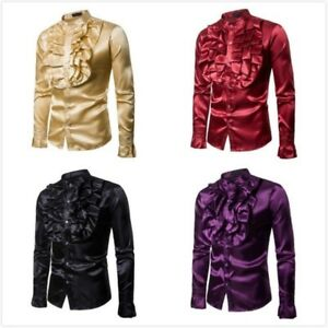 Men Feather Satin Blouse TopsShirt Business Long Sleeve Faux Silk Shiny