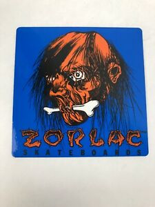 Zorlac-Skateboards-Sticker-Pushead-1985-Vintage-Orange-Shrunken-Head-4-x-4