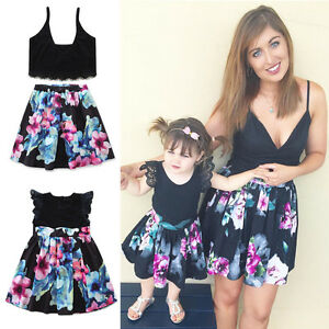1f1987a13b Image is loading Family-Dress-Mother-amp-Daughter-Casual-Matching-Womens-