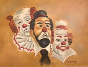"Vintage 18""x24"" Clown Oil Painting  On Wood Signed 1981 Americana Circus  Art"