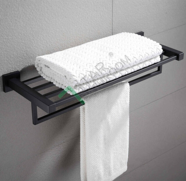 600mm Black Towel Shelf Rack Rail Wall Mounted Holder Double Bar Stainless Steel