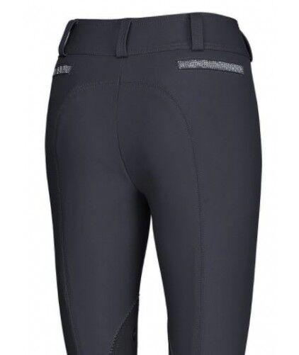 Pikeur Pantalones De Montar Señoras Pantalones de Montar de parches de la rodilla de Dinara Noche Azul Reino Unido 12
