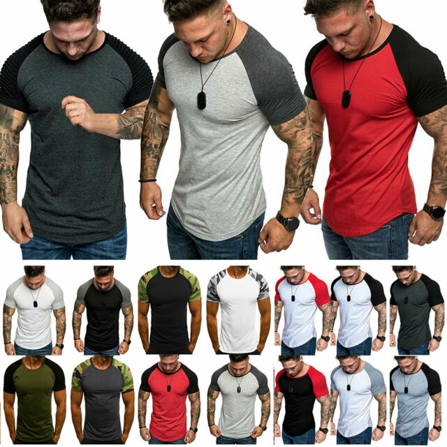 7fa8055155 Fashion Men's Gym Summer Slim Fit Short Sleeve Muscle Tee Tops T-shirt  Blouse